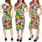 Womens Ladies New Colourful Tropical Floral Midi Dress Size S M L 8 10 12