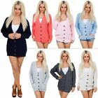 New Womens Cable Knitted 5 Button Baggy Boyfriend Acrylic Cardigan Size S M L XL