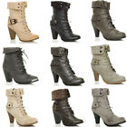WOMENS LADIES HIGH HEEL BUCKLE LACE UP FUR CUFF MILITARY ARMY BIKER BOOT