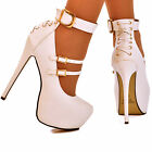 NEW Ladies White Multiple Straps Corset Back Stiletto Platform Pumps Shoes Size