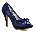 NEW Ladies Womens Navy Blue Floral Lace Bow Mid High Heels Peep Toe Shoes Size
