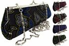 BB ACCESSORIES EVENING PARTY BAG CLUTCH PURSE SILVER CHAIN STRAP Velvet Glitter