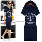 Women Cotton Letter Print Slim Hoodies Long T-Shirt Dress Short Sleeve Size S M