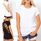 Womens Sexy Crew Neck Angel Wings Hollow Back T-shirt Blouse Short Sleeve Top