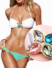 2014 Bikini in women's clothing Rhinestone Swimwear Push-Up Strappy Swimwear Set