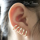 Gold Toned Chain Stacked Ring Clip On Ear Cuff Wrap Women - No Piercing required