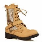 NEW Womens Beige Gold Leather Comfortable Metallic Lace Up Flat Combat Boot Size