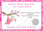 10 PERSONALISED BABY SHOWER SCRATCH CARDS - GIRL