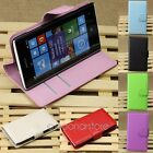 For Nokia Lumia 520 PU Leather Flip Magnetic Wallet Hard Card Holder Case Cover