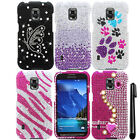 For Samsung Galaxy S5 Active G870A DIAMOND BLING HARD Case Cover Phone + Pen