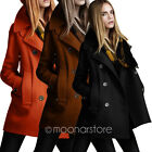 UK ship Womens Double-breasted Long Sleeve Winter Woolen Jacket Coats Overcoat