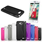 S-Line Wave Shape Gel TPU Soft Case Cover Skin + FREE Film for LG Optimus L90