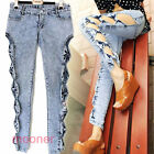 New Fashion Women/Gril side Hollow Out Bowknot Slim Sexy Jeans trousers Club