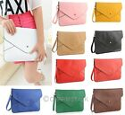 Lady Retro Vintage Fashion PU Leather Envelop Handbag Shoulder Bag Purse 10color