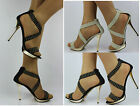 New Ladies Crossed Ankle Strap Peep Toe High Heel Evening Shoes Sandals Size 2-8