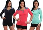 Womens V Neck ¾ Sleeve Multi Color Button Blouse Tshirt Girls Stylish Cotton Top