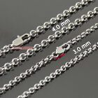 """2mm 3mm 4mm Cool Unisex Stainless Steel Rolo O Link Chain Necklace 14"""" - 40"""""""
