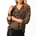 Sexy Women Leopard Animal Print Top Chiffon Shirt Casual Blouse Collared