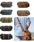 Retro Canvas Leather Military Shoulder Messenger School Satchel Bag Men Women