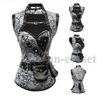 Goth Gray Brocade Steampunk Corset with Removeable Jacket and Belt Halloween Top