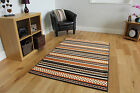 New Small Large Gold Aztec Modern Rug Easy Clean Striped Living Lounge Rug Cheap