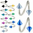 2Pcs Spikes barbell piercing eyebrow bar ring straight 9CTC-SELECT COLOR&SIZE