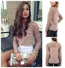Women Roundneck Sheer Sleeve Embroidery Lace Crochet Chiffon Shirt Top Blouse LA