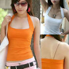 Sexy Women's Halter Neck Low Cut Tight Vest Shirt Tank Tee Cami Backless Top