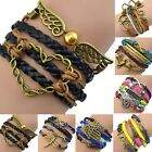Womens Girls Vintage Multilayer Braided Rope Bracelet Hollow Chain Cuff Bangle