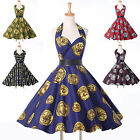 1950s VTG Coins Print Dress Halter Vintage Retro Housewife Prom Party Dress 1960