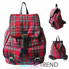 LYDC Tartan Check Print Rucksack Ladies Designer Plaid Girls School Backpack