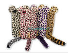 3D Furry Feather Plush Leopard TPU Back Cover Case with tail F Iphone 4 4S 5 5S