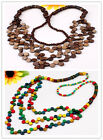 HOT Handmade Coconut Shell Carved Round Beads 3-row Necklace More Colors Options