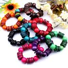 18mm Large Handmade Coconut Shell Wooden Round Bead Stretch Bracelets 10 Options