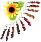 Handmade Assorted Coconut Shell Carved Round Bead Dangle Hoop Earrings 6 Options