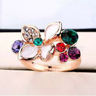 Material Stone 18K Rose Gold Plated Crystal Multi-Colored Flower Ring GP Type