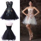 Black / White Peacock Designed Evening Dress Prom Cocktail Gown Bridesmaid Dress