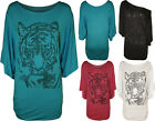 New Womens Tiger Batwing Plus Size Beaded Stud Ladies Short Sleeve Top 14 - 28