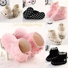 Hot Newborn Toddler Soft Sole Girls Baby shoes Boots Crib Infant Black Pink UK2