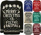 New Womens Merry Christmas Ya Filthy Animal Top Ladies Xmas Knitted Jumper 8-14