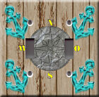 Light Switch Plate Cover - Marine anchor boat compass brown - Sail cruise travel