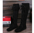 Womens  Lace Up Tassel Flat Loafers Moccasins Knee High Riding Boots Shoes New
