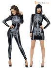 Size 4-18 Fever Sexy Skeleton Ladies Fancy Dress Costume X Ray Womens Halloween