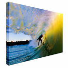 Surfer on Wave at Sunset - Barreled Canvas Art Cheap Wall Print Home Interior