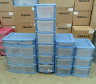 Curver Pink & Blue Storage Boxes Drawers on Casters Plastic Bedroom Utility Bath