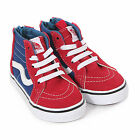 Vans Toddler Sk8-Hi Zip 2 Tone Canvas/Suede Trainer Red/ True Blue