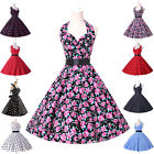 *Fast Delivery*VTG 1950s Style Dots/Floral Rockabilly Cotton Swing Retro Dress