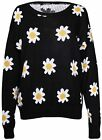 Womens Floral Daisy Print Ladies Long Sleeves Chunky Knitted Sweater Jumper Top