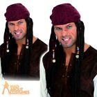 Caribbean Pirate Brown Wig with Plaits Dreadlocks Mens Fancy Dress Swashbuckler