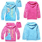 Girls Kids Frozen Princess Elsa Hooded Coat Jacket Jumper Ages 3-7years